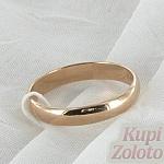 Золотое обручальное кольцо 3 мм