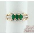 Золотое кольцо с халцедоном и фианитами