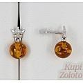 Серебряные серьги с янтарем и фианитами