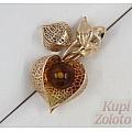 Золотая брошь с янтарем и эмалью