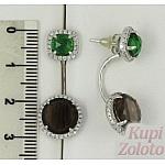 Серебряные серьги-трансформеры с раухтопазами и цирконами