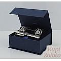 Комплект серебряный зажим для галстука и запонки с эмалью