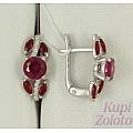 Серьги из серебра с рубиновым корундом и алпанитами