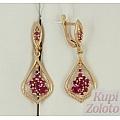 Серебряные серьги с рубиновыми корундами