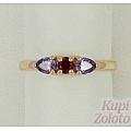Золотое кольцо с рубиновым корундом и фианитами