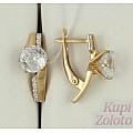 Золотые серьги с алмазанитом