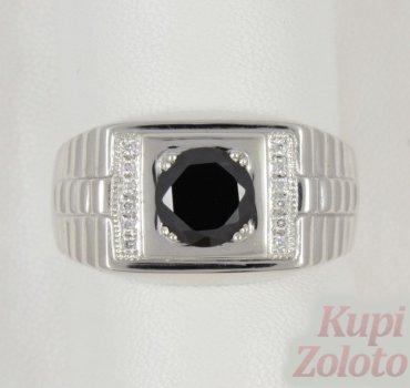 Серебряная печатка с черным камнем